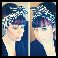 Zebra Dolly Bow Headwrap Bandana Hair Bow 1940s 1950s Vintage Style Fabric - Rockabilly - Pin Up - For Women, Teens