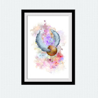 Golden snitch poster Golden snitch colorful illustration Harry Potter watercolor print Home decoration Kids room wall art Nursery room  W369
