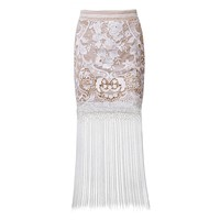 Posh Girl White Lace Fringe Maxi Skirt