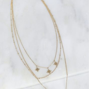Stars & Horn Layered Necklace Gold