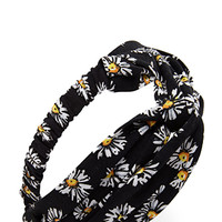 FOREVER 21 Knotted Sunflower Headwrap Black/Multi One
