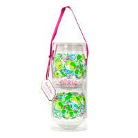 Lilly Pulitzer Stemless Acrylic Wine Glasses- Pink Lemonade- FINAL SALE
