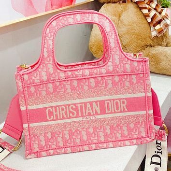 Dior New Fashion More Letter Print Canvas Shoulder Bag Crossbody Bag Handbag Pink
