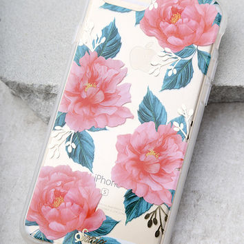 Sonix Baillie Clear and Coral Pink Floral Print iPhone 7 Case