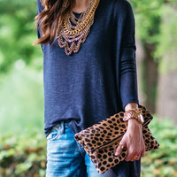 Blue Long Sleeve Cutout Back Knit Shirt
