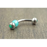Double Ended Green Opal Daith Rook Eyebrow Ring Piercing