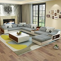 Exclusive Ultramodern Spacious Fabric Sectional Sofa Set