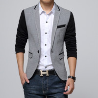 New Slim Fit Casual jacket Cotton Men Blazer Jacket Single Button Gray Mens Suits Autumn Patchwork Coat