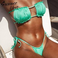 Bandeau top Micro sexy bikini 2019 Ruffles High cut swimsuit female bathers Push up green swimwear women bathing suit biquini