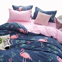 Russia Size Bedding Sets Single Europe,3-4PCS Duvet Cover Set Pink flamingo,Bed Linens Contain Quilt Cover Bed Sheet Pillow case