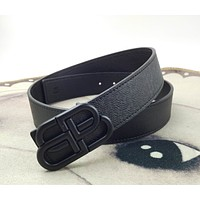 Balenciaga Classic Letter Head Buckle Fashion Litchi Pattern Belt
