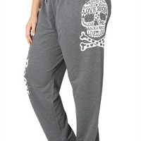 Plus Size Sweatpants with Love Rocks and Skull on Legs