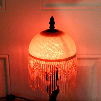 Antique Art Deco, BEADED marbled Glass Lamp Shade, circa 1930s, Excellent Condition, Pink Marbled Glass Globe, Glass Bead Accent Victorian
