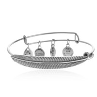 Alex and Ani style restoring ancient ways is the original accessories Plume Feather charm bracelet