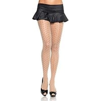 Sheer Pantyhose With Contrast Woven Dots