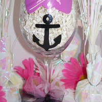 READY to SHIP Pink Bow with Anchor Hand Painted Wine Glass Pink Bow Anchor Painted Wine Glass Perfect Bridesmaid, Birthday, or Sorority Gift