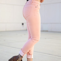 Scarlet BLVD Color Skinny Pants - light pink.