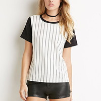 Striped Colorblock-Sleeve Tee