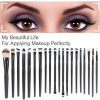 20 Pieces Makeup Brush Set Professional Face Eye Shadow Eyeliner Foundation Blush Lip Makeup Brushes Powder Liquid Cream Cosmetics Blending Brush Tool Gift