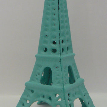 Eiffel Tower Metal Cast Iron Painted Aqua Turquoise French Chic Decor, Paris