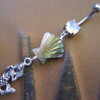 Mermaid Shell Belly Button Jewelry Ring Piercing Oyster Clam Paua Abalone Long Charm Dangle Opal Navel Bar Barbell