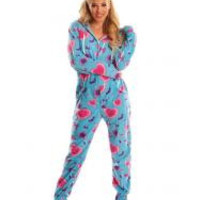 Blue Lollipops Adult Footed Onesuit Pajamas