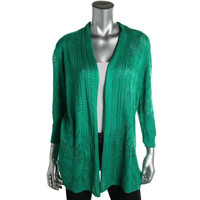 JM Collection Womens Pointelle Shawl Collar Cardigan Sweater