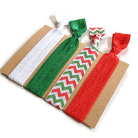 Christmas Elastic Hair Ties Red White and Green Chevron Yoga Hair Bands