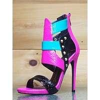 "Pacco Fuchsia Pink Teal Black Open Toe Closed Back Sandal 4.5"" High Heel Shoes"