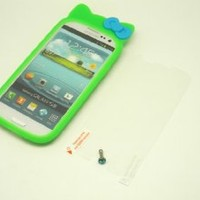 """Premium Quality A Graded Silicone Cat Kitty with Bow Ribbon (GREEN) Jelly Silicone Case Soft Skin Protector Cover For """"SAMSUNG GALAXY S3 / SIII"""" , """"FREE: CLEAR SCREEN PROTECTOR & DIAMOND EARPHONE DUST PLUG"""""""