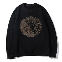 Versace hot selling couples casual hoodies fashion hot diamond medusa figure crew neck hoodies Black