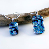 Mother Daughter Matching Necklace - Matching Mother Daughter Jewelry - Necklace Set - Dichroic Glass Pendants - Blue Pendant Necklaces