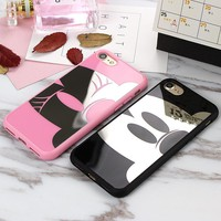Soft Silicone Mirror Case For iPhone 7 7 Plus 5 5s SE Mickey Minnie Cover For iPhone 6 6s Plus Back Covers Cases Coque Fundas