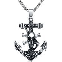 Stainless Steel Gothic Pirate Skull and Crossbones Anchor Pendant Necklace