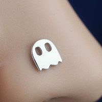 nose ring, nose stud, nose piercing, nose jewelry, L post pac-man ghost tiny mini sterling silver