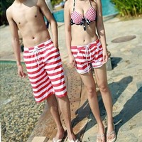 Red Stripes Print Couple Swim Shorts 042221 B0603