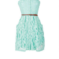 Belted Lace Strapless
