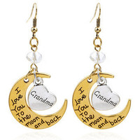 "FREE ""I Love You To The Moon and Back""Family Heart Earrings"