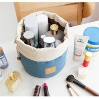 Barrel Shaped Cosmetic Bag