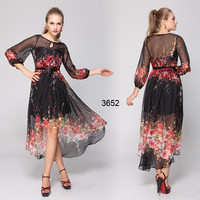 Printed Long Sleeve Dip Hem Round Neckline Party Dress