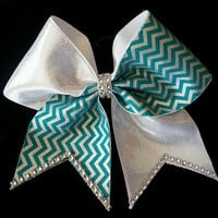 Silver and Teal Chevron Cheer Bow