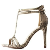 Natural Gold-Plated Metallic Python T-Strap Heels by Charlotte Russe