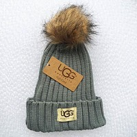 """UGG"" Trending Women Men Stylish Embroidery Beanies Knit Hat Warm Woolen Cap Grey I/A"