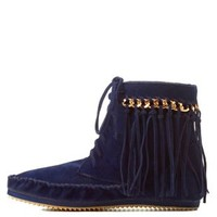 Navy Bamboo Chain & Fringe Moccasin Booties