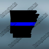 Arkansas Back the Blue Flag Thin Blue Line Vinyl Decal | Yeti Cop Decal | Distressed American Flag | Blue Lives Matter | 406