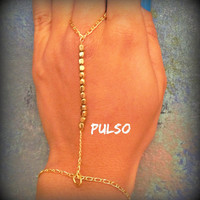 All Gold hand chain, simple hand chain, gold slave bracelet, ring to wrist, swimsuit accessory, summer essential, beach accessory, boho