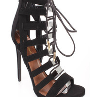 Black Strappy Lace Up Single Sole High Heels Faux Leather