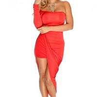 Coral Long Sleeve Draped Sexy Party Dress