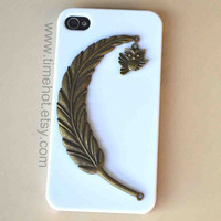 owlangel feather iPhone44s case iphone 44s hard by timehot on Etsy