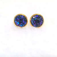 Druzy Earrings, Druzy Studs, Faux Druzy Earrings, Blue and Purple Druzy Earrings, Glitter, Sparkle, Boho, Post Earrings, Gold Settings
